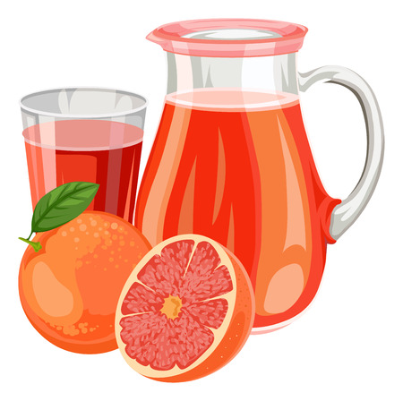 Illustration of fresh grapefruit juice in glass and jar.