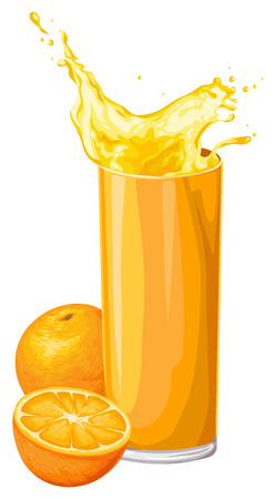 Illustration of fresh orange fruit with juice in glass. Illustration