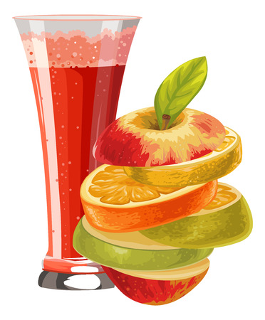 indulgence: Illustration of sliced fruit and cocktail in glass. Illustration