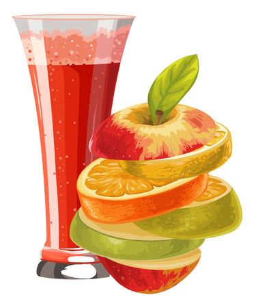mocktail: Illustration of sliced fruit and cocktail in glass. Illustration