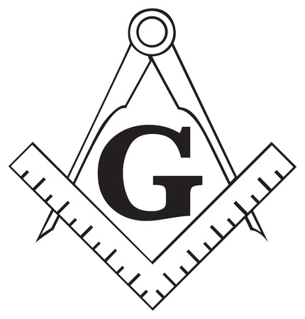 The Masonic Square and Compass symbol, great for tattoo or artwork, isolated on white
