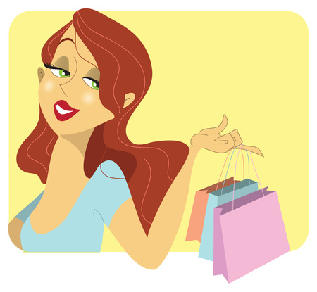 redhead woman: A cute redhead woman with curly red hair holding three blue, red and pink shopping bags on her finger with a satisfied look on her face