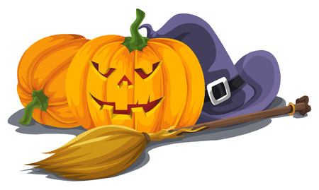 Illustration of Halloween pumpkin with witchs hat and broomstick isolated on white.