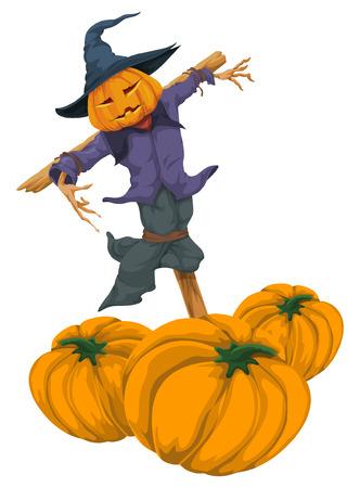 representations: Illustration of halloween pumpkin totem witch.