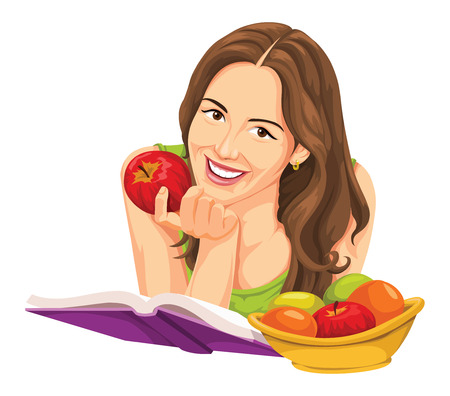 Illustration of happy young woman with apple, reading a book. Illustration