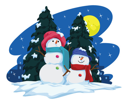 snowfall: Illustration of two snowmen and christmas tree during snowfall. Illustration