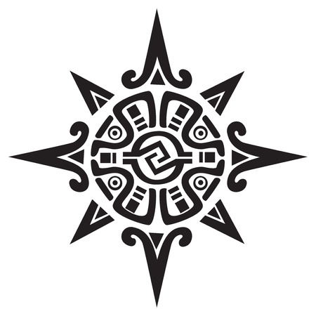 civilisation: Mayan or Incan symbol of a sun or star, isolated on white. Great for tattoo or artwork Illustration