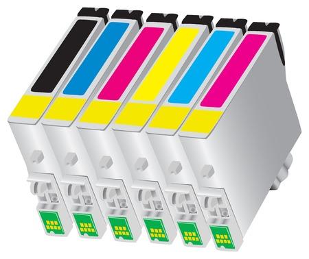 デスク ジェット タイプのプリンターのための六つの色インク ジェット カートリッジ  イラスト・ベクター素材