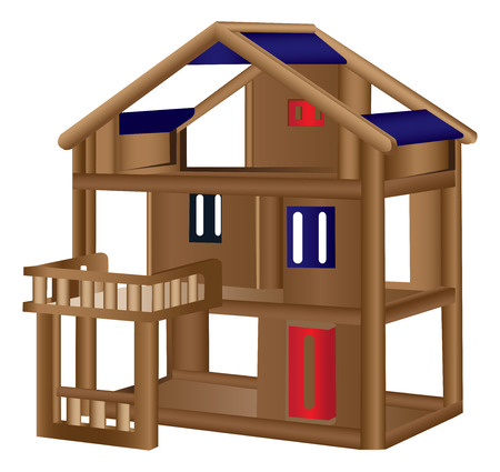 wooden doll: Wood doll house Illustration