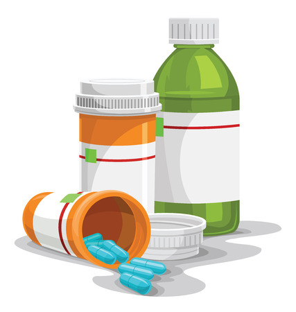 Vector illustration of prescription pill and syrup bottles. Illustration