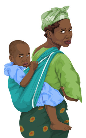Ilustración vectorial de la mujer africana da a cuestas paseo a hijo.