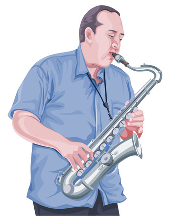 chrome man: Vector illustration of man playing saxophone.