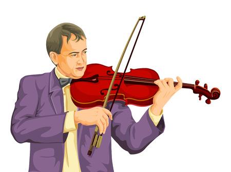 Vector illustration of musician playing violin. Illustration
