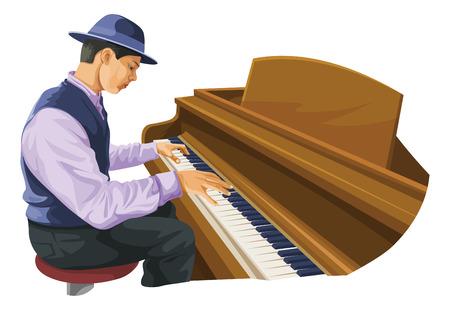 Vector illustratie van muzikant speelde piano.
