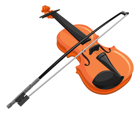 Vector illustration of violin and bow.