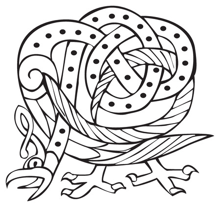 Celtic design of a bird with knotted lines and pattern. Great for artwork or tattoo
