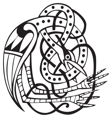 Celtic design of a bird biting his own neck, with knotted lines and pattern. Great for artwork or tattoo