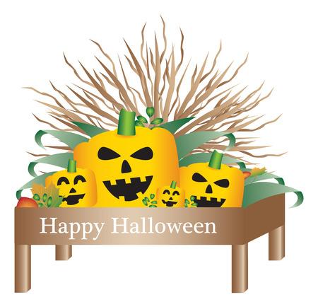 plant stand: Halloween pumpkins