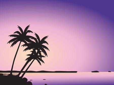 Tropical palm trees and sea Illusztráció