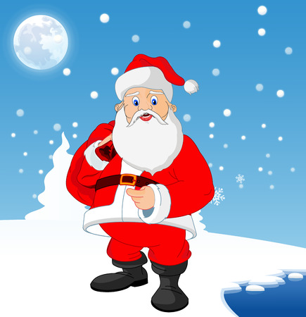Santa Claus near a frozen lake with blue and white background with snow, moon and pine trees, vector illustration 向量圖像