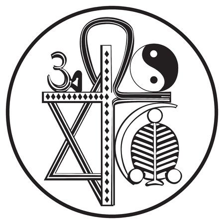 solemn: Religiones universales y s�mbolos religiosos, aislado en blanco