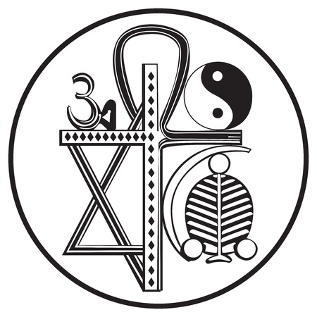 Universal religions and religious symbols, isolated on white Illustration