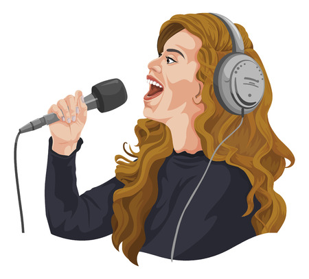 the vocalist: Vector illustration of woman singing and listening on headphones.