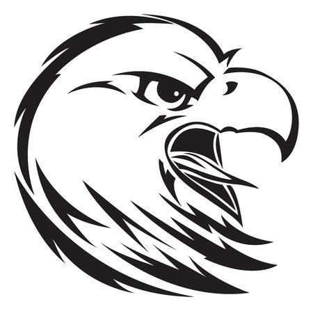 Eagle head tattoo design, vintage engraved illustration. Иллюстрация