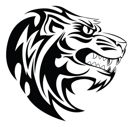 tattoo design: Lion head tattoo design, vintage engraved illustration.