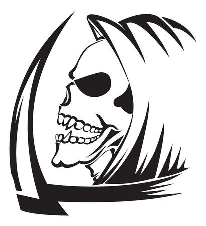 guadaña: Diseño del tatuaje de un ángel de la muerte con guadaña, vintage grabado ilustración.