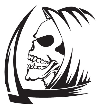 Tattoo design of a grim reaper with scythe, vintage engraved illustration. Vector