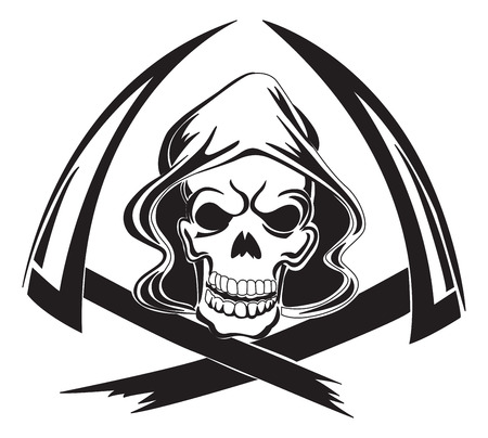 reaper: Tattoo design of a grim reaper with scythe, vintage engraved illustration.