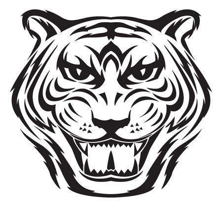 tatouage visage: Design Tiger face tatouage, illustration vintage grav�.