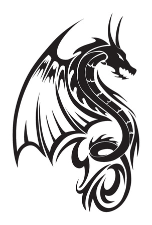 black and white dragon: Flying dragon tattoo design, vintage engraved illustration.