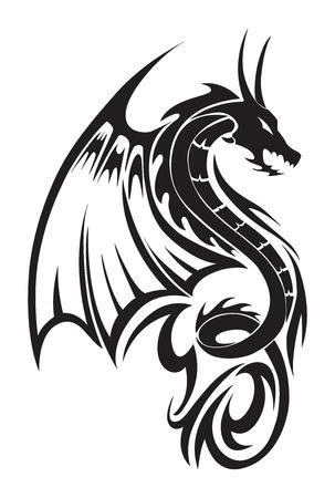 the dragons: Volar dise�o del tatuaje de drag�n, ilustraci�n de la vendimia grabado.