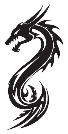 dragones: Dise�o del tatuaje del drag�n, ilustraci�n de la vendimia grabado. Vectores