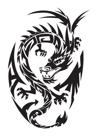 flying dragon: Dragon tattoo design, vintage engraved illustration.