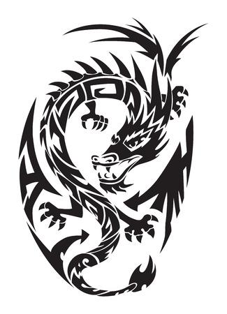 Dragon tattoo design, vintage gegraveerde illustratie. Stock Illustratie
