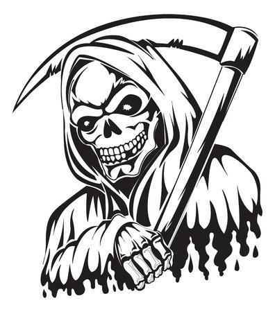 guadaña: Diseño del tatuaje de una parca que sostiene una guadaña, cosecha ilustración grabada. Vectores