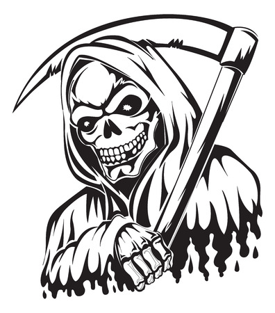 skull and bones: Tattoo design of a grim reaper holding a scythe, vintage engraved illustration.