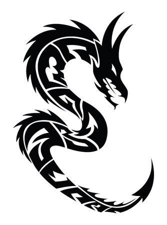 Diseño del tatuaje del dragón, ilustración de la vendimia grabado. Ilustración de vector