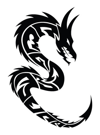 dragon tattoo: Dragon tattoo design, vintage engraved illustration.