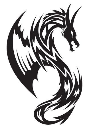 Vliegende draak tattoo design, vintage gegraveerde illustratie.