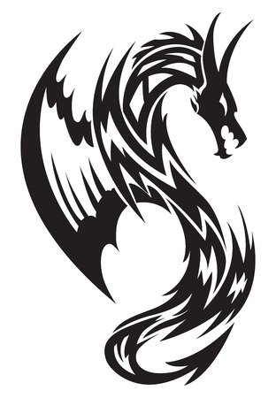dragon tattoo: Voler conception de tatouage de dragon, illustration vintage grav�.