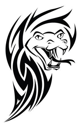 Snake tattoo design, vintage engraved illustration.