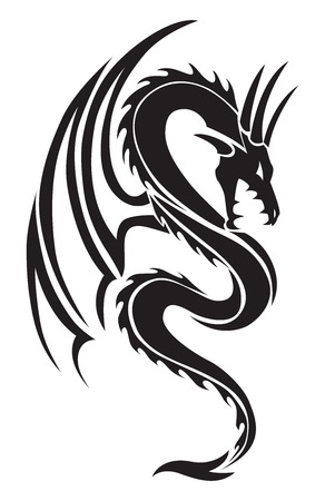 tatouage dragon: Voler conception de tatouage de dragon, illustration vintage grav�.