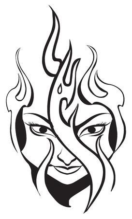 black woman: Tattoo design of flame on womans face, vintage engraved illustration. Illustration