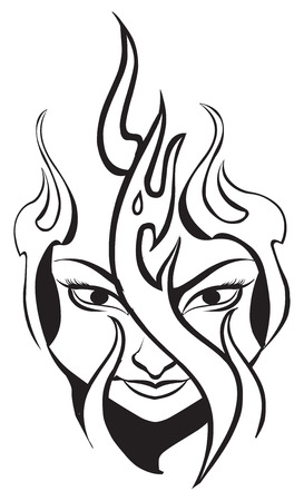 Tattoo design of flame on woman's face, vintage engraved illustration.