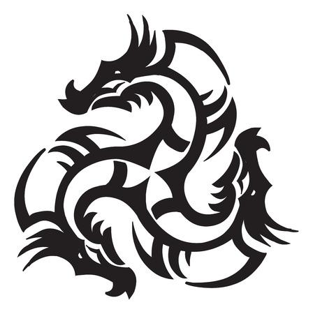 the dragons: Dise�o del tatuaje de un drag�n, ilustraci�n de la vendimia grabado.