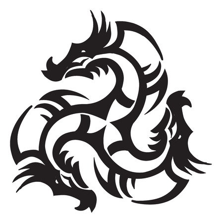 black and white dragon: Tattoo design of a dragon, vintage engraved illustration.
